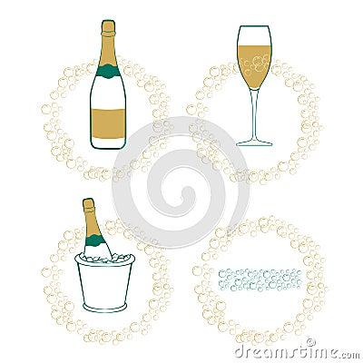The wineglass, bottle of wine in ice bucket.