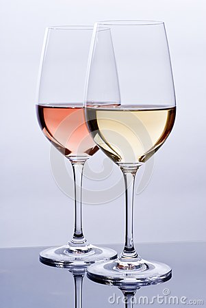 Wineglasses Filled with Colorful Wine