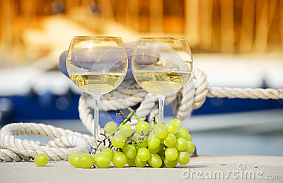 Wineglasses and grapes