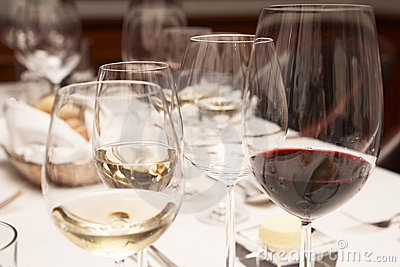 Wineglasses on restaurant table