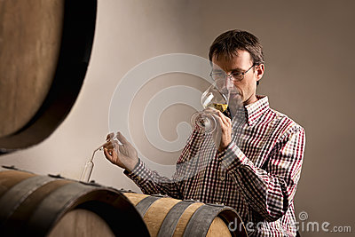Winemaker tasting wine in cellar.