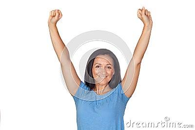 Winer girl celebrating success