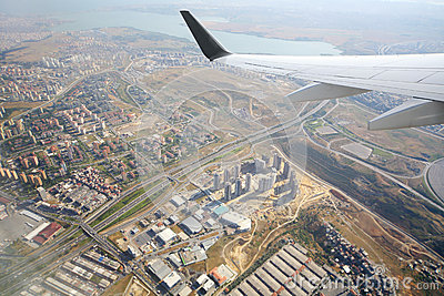 Wing aircraft and view of Istanbul (Turkey)