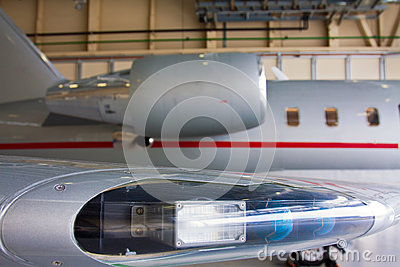 Wing with lights and engine