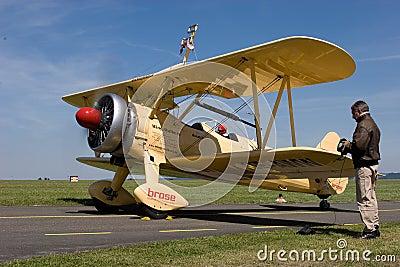Wing walking - Boeing Stearman E 75 Editorial Photo