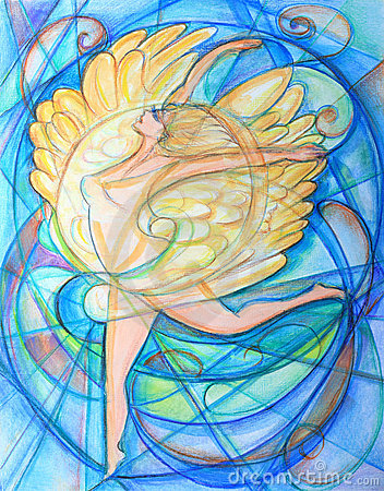 Winged Angel Cubist Painting