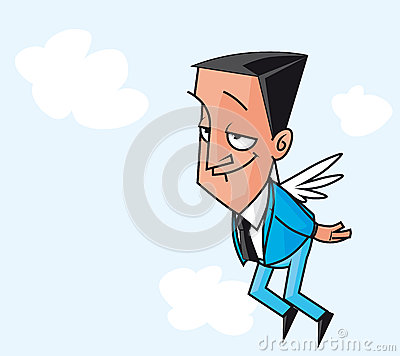 Winged businessman