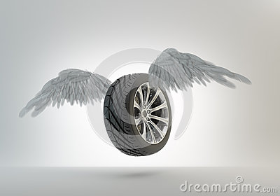 Winged car wheel