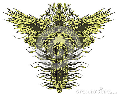 Winged crucifix