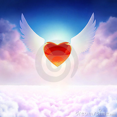 Free Winged Heart Royalty Free Stock Images - 8485069