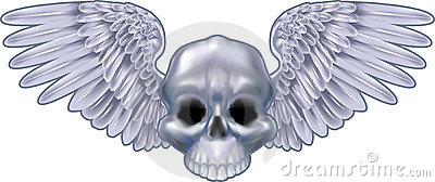 Winged metallic skull motif