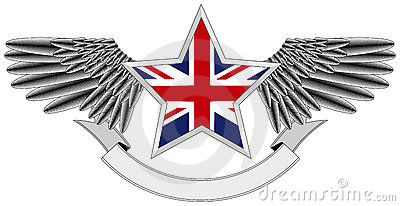 Winged star with UK Flag