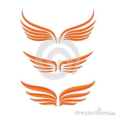 Wings bird set Vector Illustration