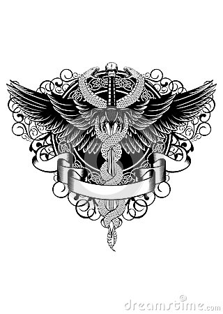 Wings, patterns, fantasy sword and serpents