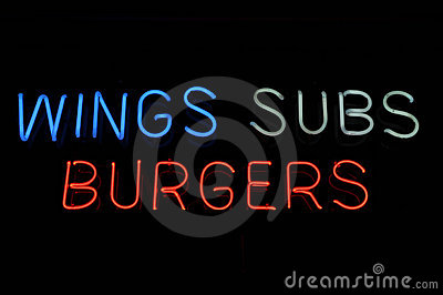 Wings Subs Burgers Sign