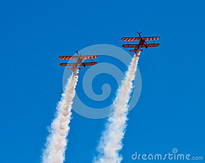 Wingwalkers on biplane Editorial Stock Photo