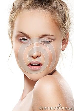Wink beautiful teen girl model, make-up, pure skin