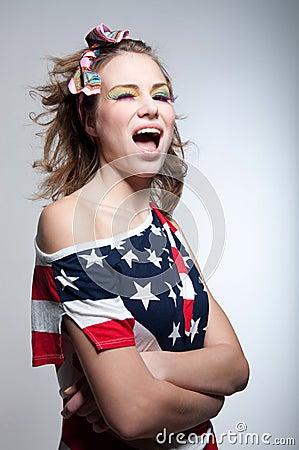 Winking American girl