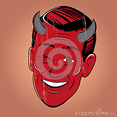 Winking cartoon devil