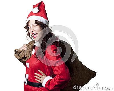 Winking Santa Woman