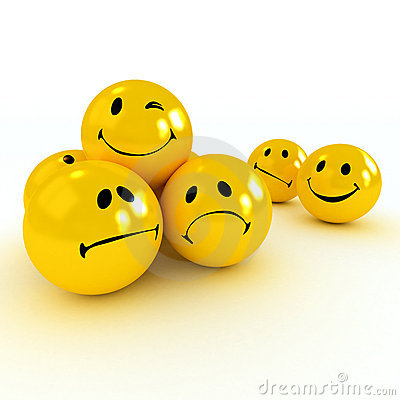 Free Winking Smiley Carried By Sad And Angry Ones Royalty Free Stock Photos - 3871588