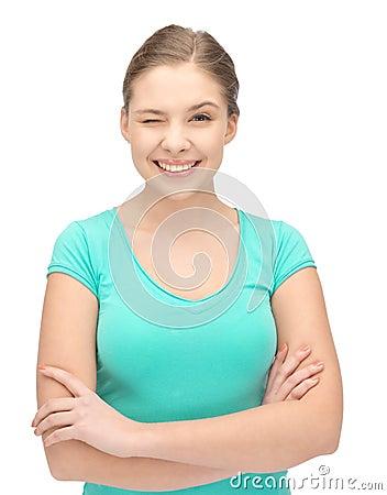 Winking teenage girl