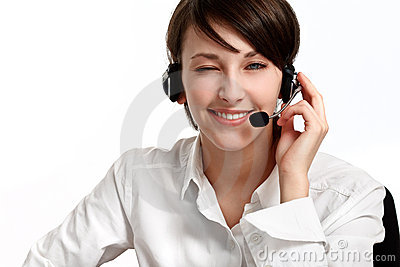 Winking woman operator with headset