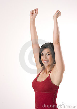 Woman Happy Excited Winning Winner Arms Raised