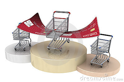 Winner 3d shopping cart with credit card wings