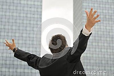 Winner businessman  screaming from joy