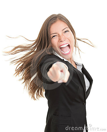 Winner businesswoman pointing excited