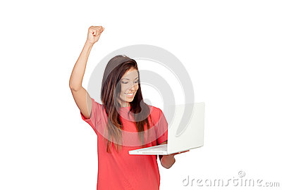 Winner girl with a laptop