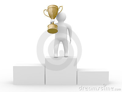 Winner with gold cup on white background