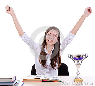 Winner happy student  with success