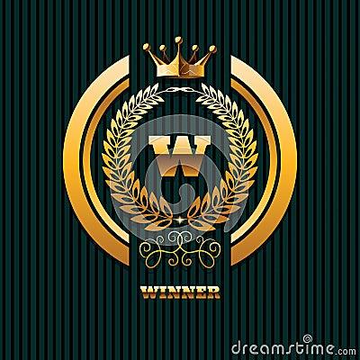 Winner Logo real estate property gold crown logo template eps 10 Vector Illustration