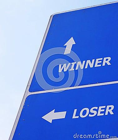 Winner loser signboard