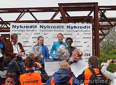 Winners - copenhagen marathon female Editorial Stock Image