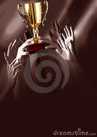 Free Winners Holding Trophy Stock Photography - 8659542
