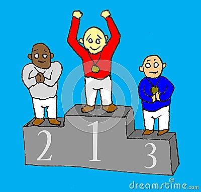 Winners stand