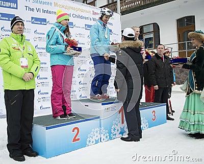 Winners of VI international childrens winter games from UFA Editorial Stock Photo