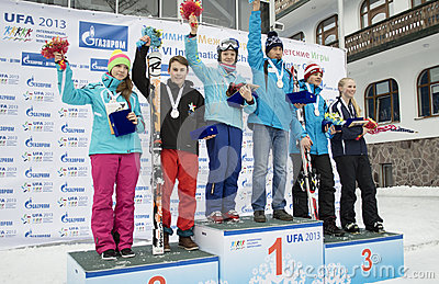 Winners of VI international childrens winter games from UFA Editorial Image