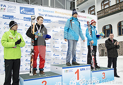 Winners of VI international childrens winter games from UFA Editorial Image
