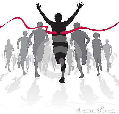 Free Winning Athlete Crosses The Finish Line. Royalty Free Stock Image - 29996636