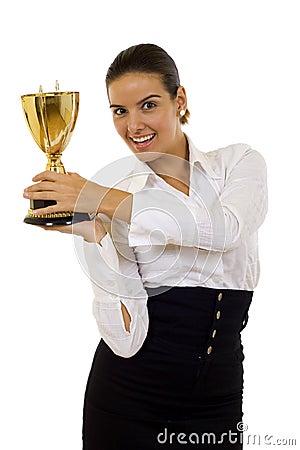 Winning a gold trophy