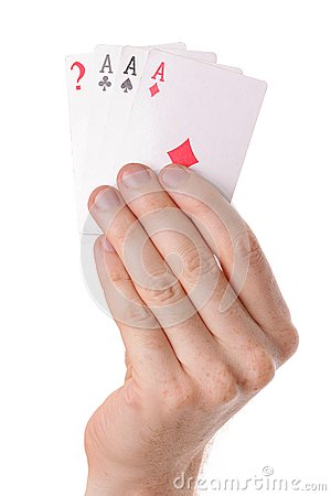 Winning poker hand of aces playing cards