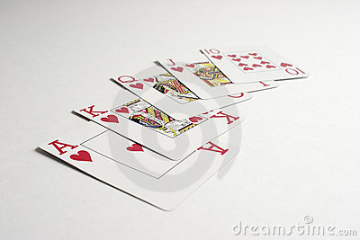 A winning royal flush hand in poker