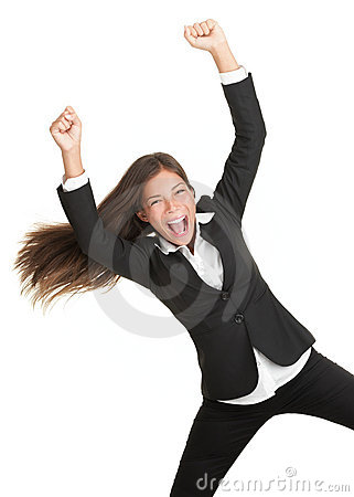 Winning success woman isolated on white background