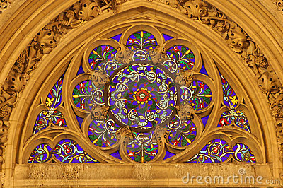 Winow-pane from gothic church in Paris