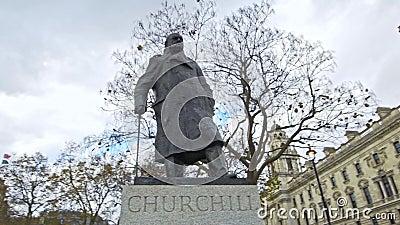 Winston Churchill w parlamentu kwadracie, Londyn, Anglia, zlany królestwo zbiory wideo