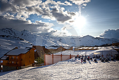 Winter Alps landscape from Val Thorens. 3 valleys